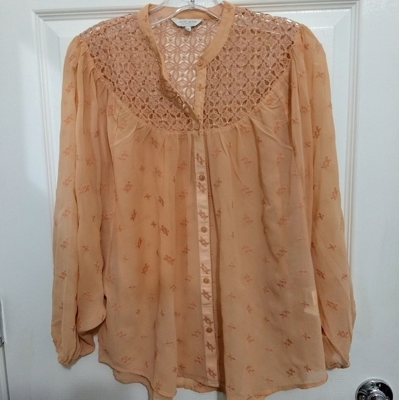 Lucky Brand Tops - Lucky brand pink tan crochet sheer long sleeve top